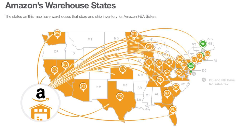 Amazon輸出 FBA倉庫 所在地