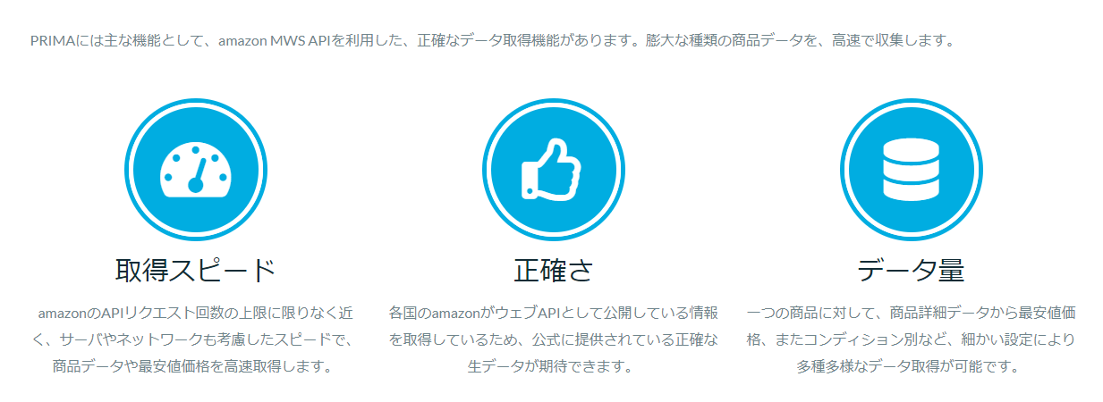 Amazon輸出 PRIMA 特徴